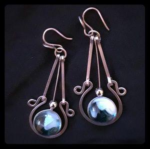 Large Aqua Silver dangle earrings